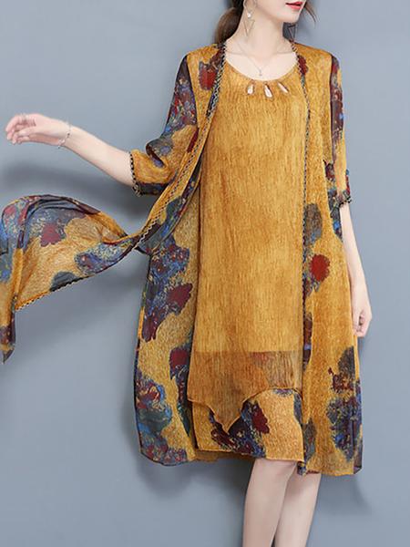 Yellow Women Elegant Dress Crew Neck Two Piece Elegant Floral Dress