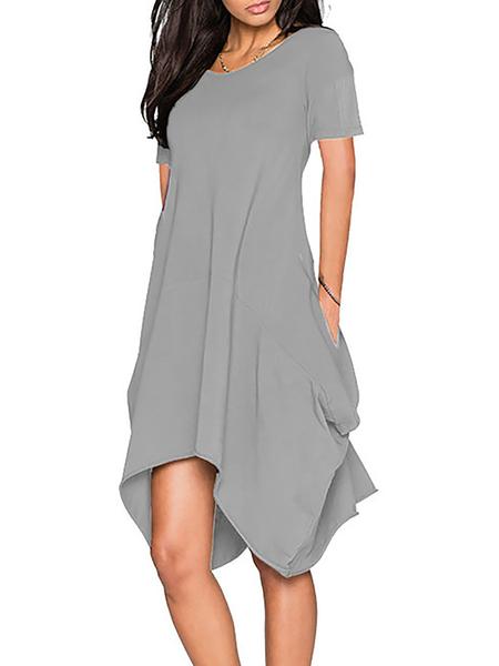 Women Casual Dress Crew Neck A-line Daily Short Sleeve Asymmetric Dress