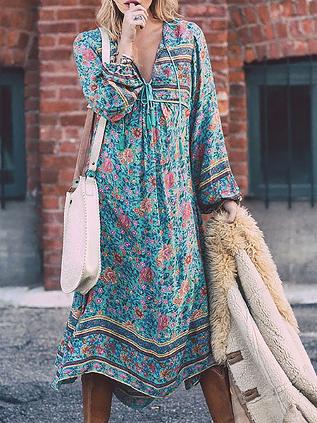 Women Print Dress V neck Asymmetrical Date 3/4 Sleeve Chiffon Dress