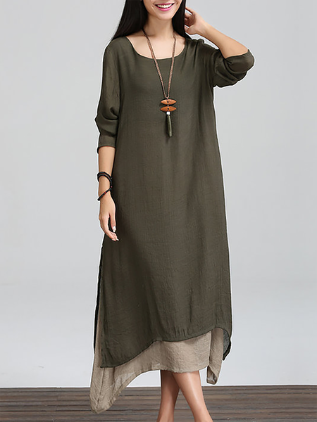 Women Casual Dress Crew Neck Shift Long Sleeve Asymmetric Dress