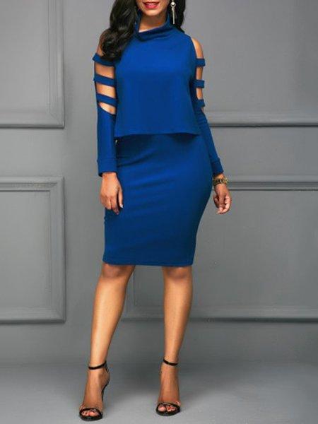 Long Sleeve Cowl Neck Cutout Bodycon Two Piece Dress