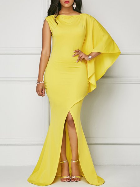 Yellow Women Prom Dress Bateau/boat neck Mermaid Cape Sleeve Solid Dress