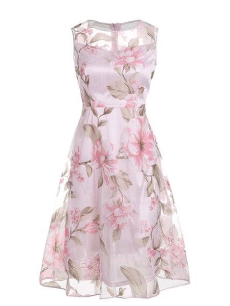 Pink Women Elegant Dress Crew Neck A-line Going out Paneled Floral Dress
