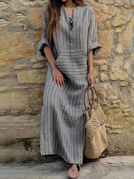 V neck Women Summer Dress Sheath Date Linen Paneled Dress
