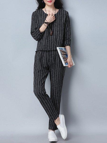 Linen Crew Neck Casual Long Sleeve Pockets Women's Set