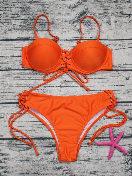 Solid Underwire Bralette Lace-up Strappy Bikini