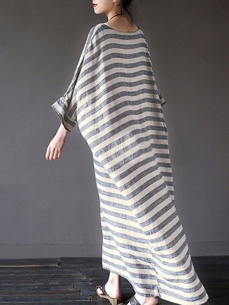 Justfashionnow Plus Size Women Casual Dress Crew Neck