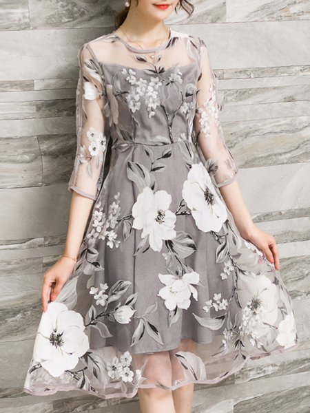 Gray Women Elegant Dress Crew Neck A-line Going out 3/4 Sleeve Printed Dress