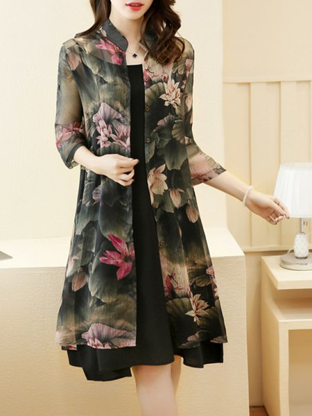 Green Women Print Dress Stand Collar Two Piece 3/4 Sleeve Casual Dress