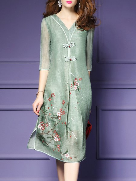Light green Women Vintage Dress V neck A-line Half Sleeve Cotton Dress
