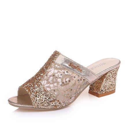 Elegant Mesh Sequin Peep Toe Chunky Heel Slippers