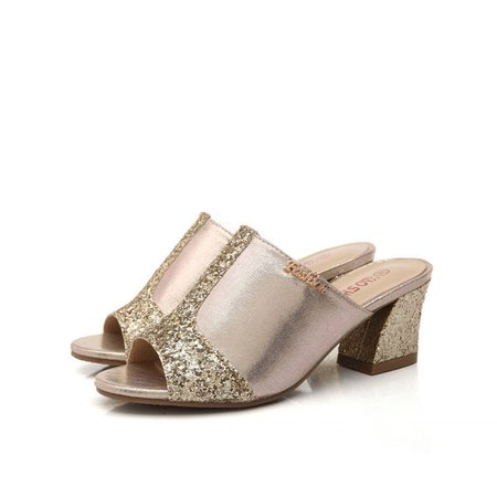 Elegant Sequin PU Slippers Peep Toe Chunky Heel Shoes