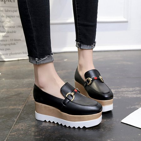 Slip-on Platform Loafers Women Round Toe PU Creepers