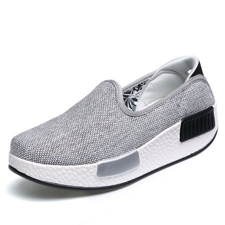 Solid Color Slip-On Rocker Sole Canvas Loafers