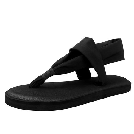 Casual Flat Heel Slip On Fabric Sandals