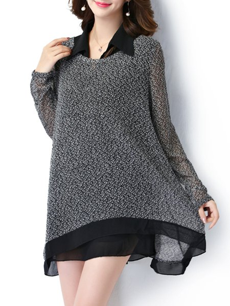 Shirt Collar Paneled Asymmetrical Long Sleeve Plus Size Blouse