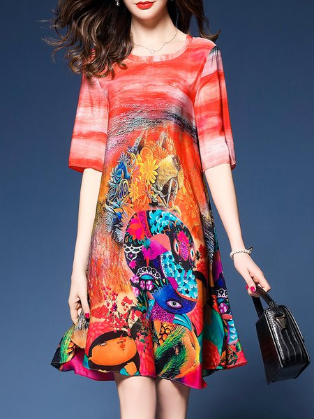 Multicolor Women Print Dress Crew Neck A-line Going out Casual Printed Dress