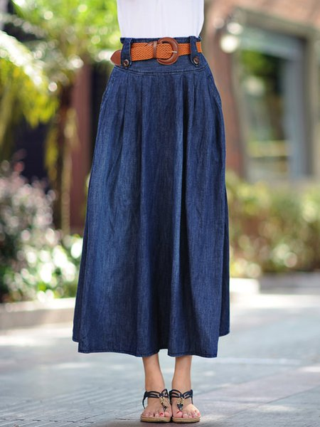 Dark Blue Casual Denim Pockets Gathered Plain  Skirt