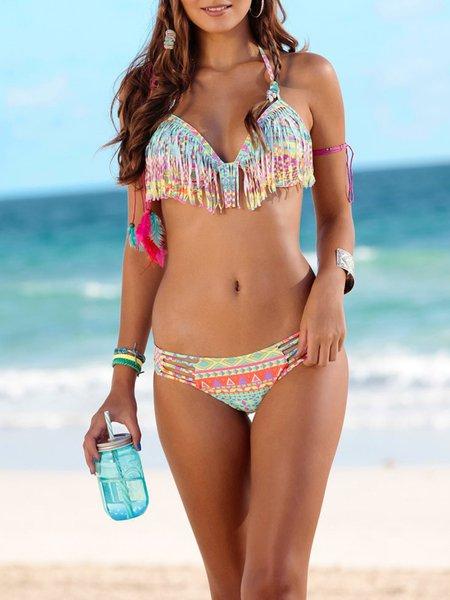 Geometric Printed Halter Padded Wireless Bralette Bikini