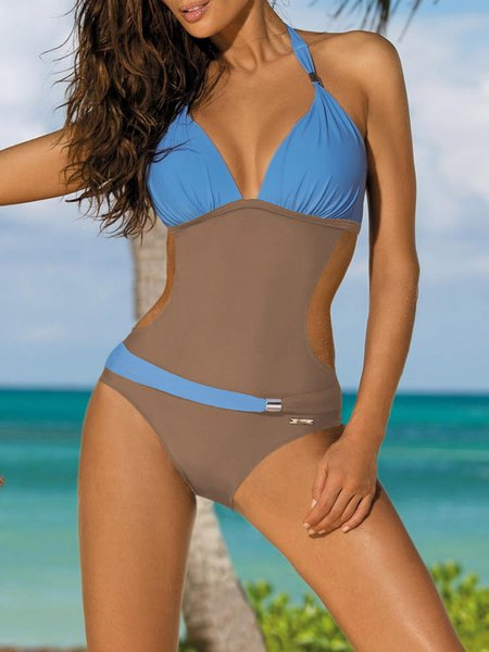 Color-block Padded Wireless Halter One-piece