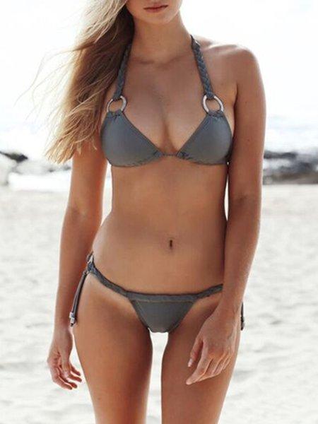 Gray Grommets Solid Halter Padded Wireless Bikini