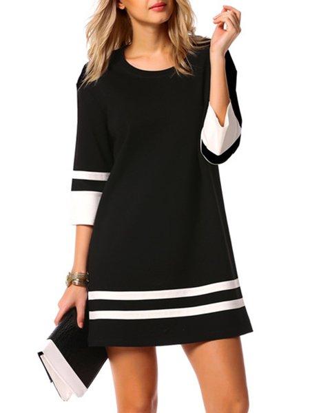 Black Women Casual Dress Crew Neck Daily 3/4 Sleeve Cotton Dress