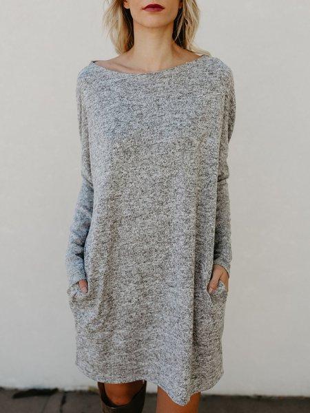 Women Casual Dress Bateau/boat neck Shift Daily Long Sleeve Knitted Dress