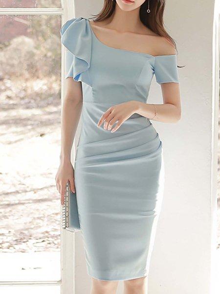 Blue Ruffled Elegant Solid Polyester Midi Dresses
