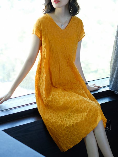 Yellow Asymmetrical Casual Summer Mini Dresses