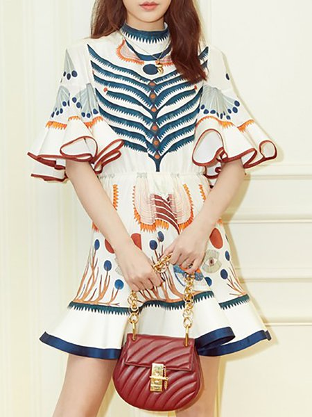 Multicolor Bell Sleeve Stand Collar A-line Mini Dresses
