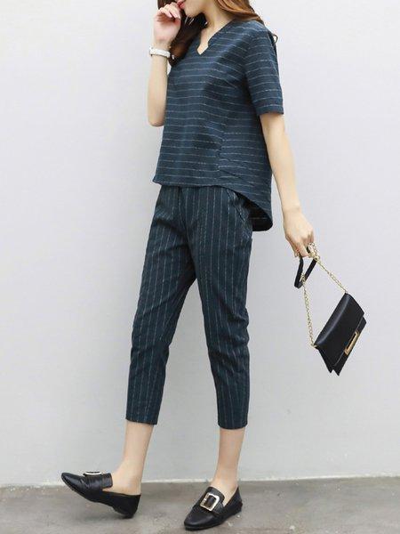 Pockets V Neck Stripes Short Sleeve High Low Plus Size Women's Set