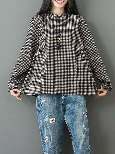 Black Linen H-line Gingham Long Sleeve Blouse