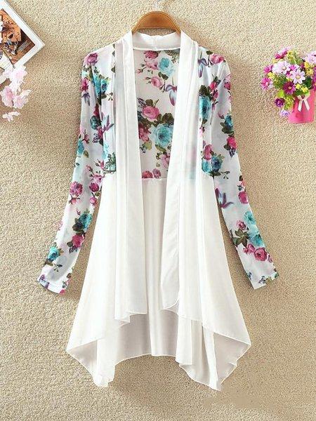 Printed Chiffon Casual Floral Long sleeve Kimono