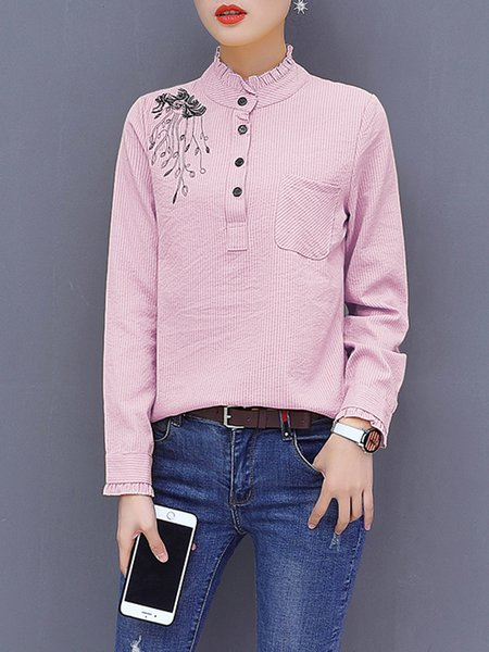 Long Sleeve Floral-embroidered Ruffled Blouse