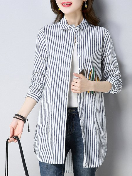 Shirt Collar Stripes High Low Long Sleeve Printed Coat