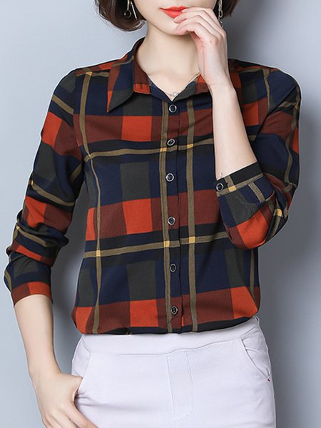Buttoned Shirt Collar Long Sleeve Plaid  Blouse