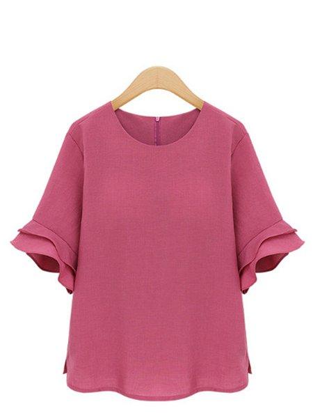 Chiffon Solid  Frill Sleeve Casual T-Shirt
