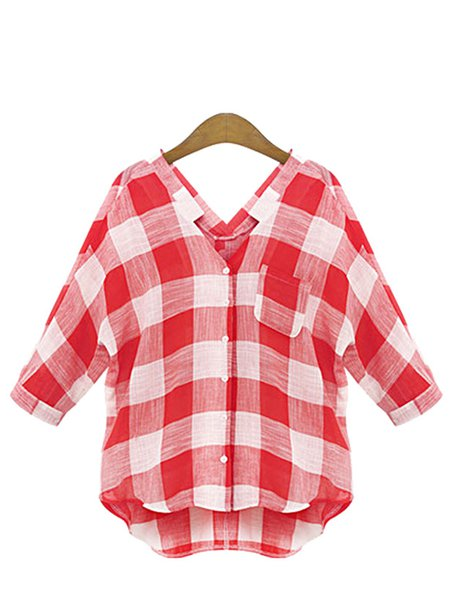 Red Long Sleeve Buttoned V Neck  Blouse