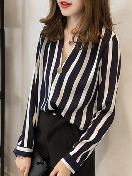 Casual V Neck Buttoned Chiffon Long Sleeve Plus Size Blouse