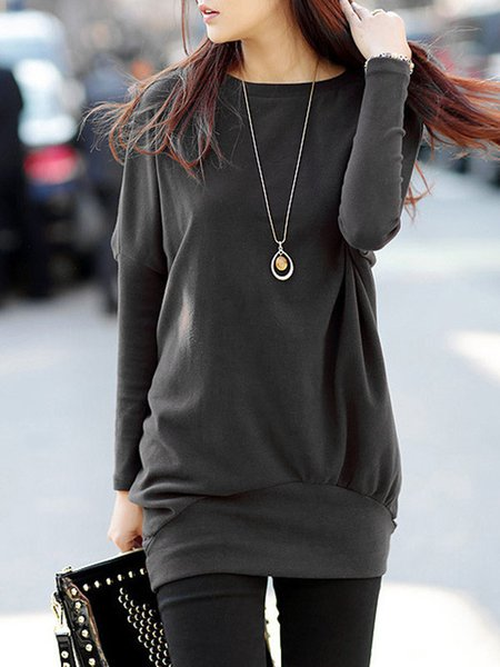 Batwing Solid Casual  Fleece-lined Tunic