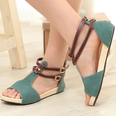 Large Size PU Peep Toe Buckle Sandals