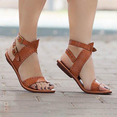 Large Size PU Double Buckle Flat Sandals
