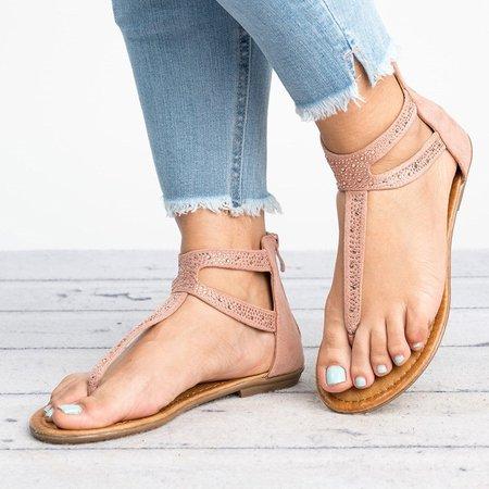Plus Size Rhinestone PU Zipper Sandals