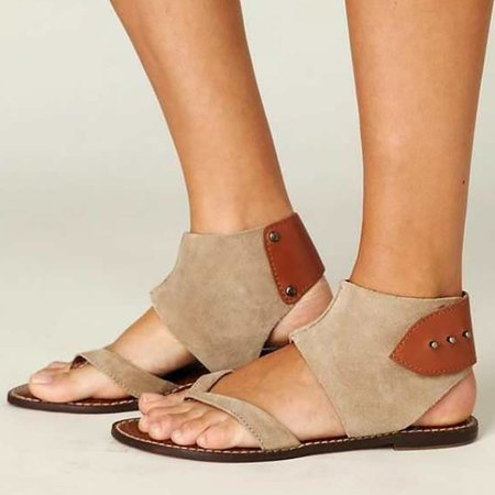 Large Size Buttoned Artificial Nubuck Flat Sandals