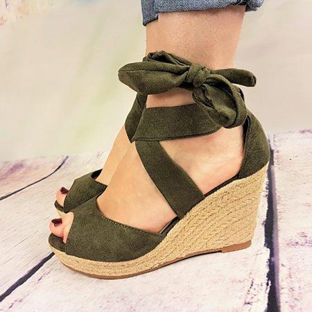 Plus Size Peep Toe Bandage Espadrilles Wedge Sandals ...