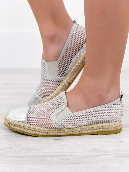 Breathable Hollow Out Flat Loafers Espadrille Mesh Slip On Shoes