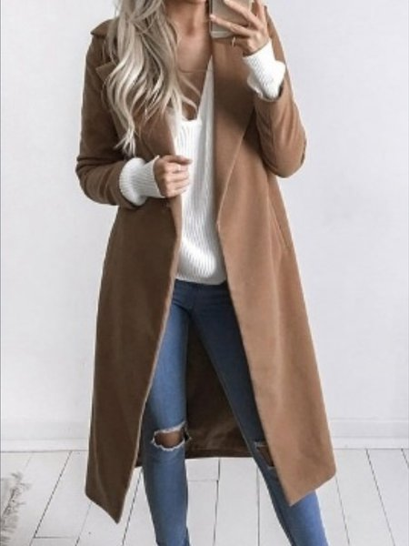Women's Coat Pockets Solid Turn-down Collar Casual Coat
