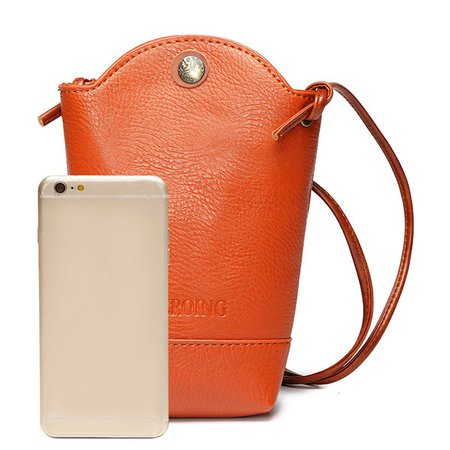 Woman PU Crossbody Bag Little Phone Purse Bucket Bag
