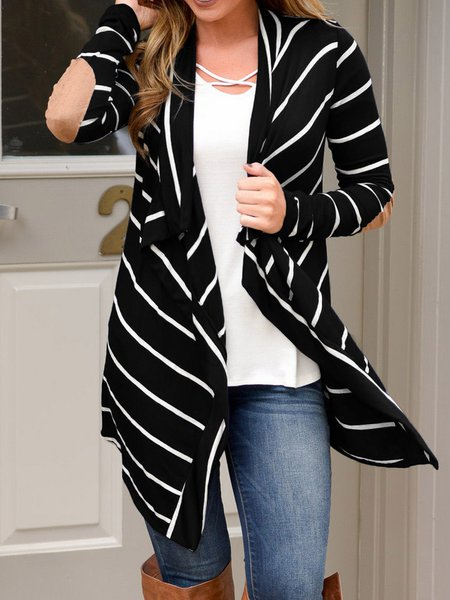 Black Knitted Stripes Casual Cotton-blend Cardigan
