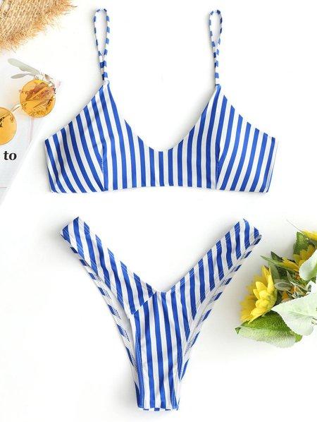 Blue Printed Padded Stripes Bikini